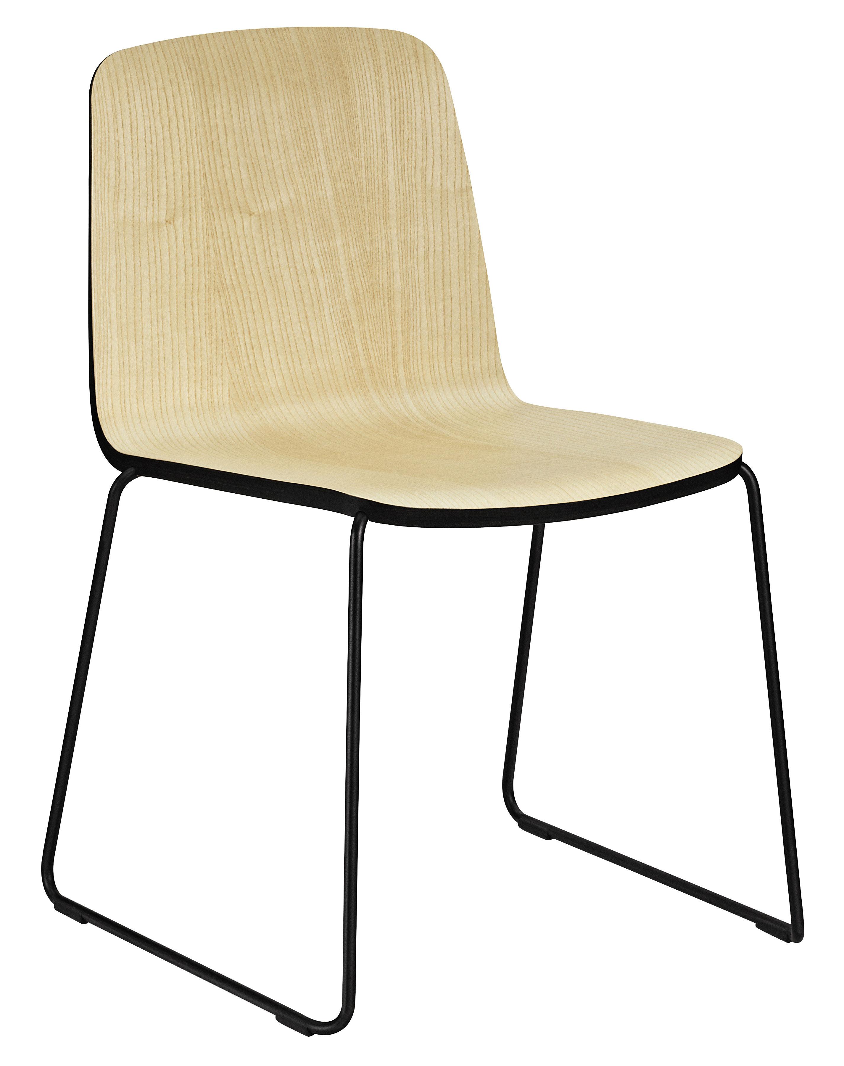 Chaise empilable Just / Bois - Normann Copenhagen noir/bois naturel en bois