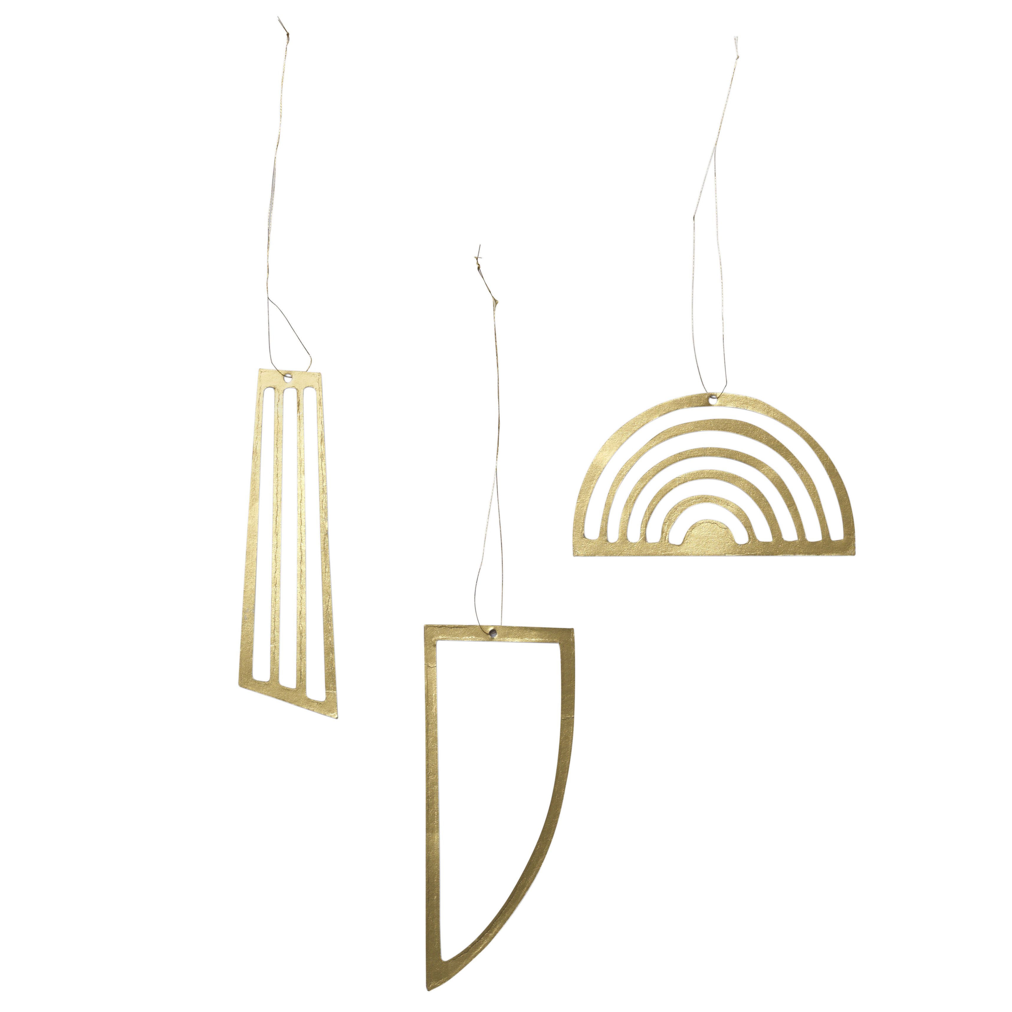 Decoration - Home Accessories - Golden Christmas decoration - / Cardboard - Set of 3 by Ferm Living - Gold - Cardboard