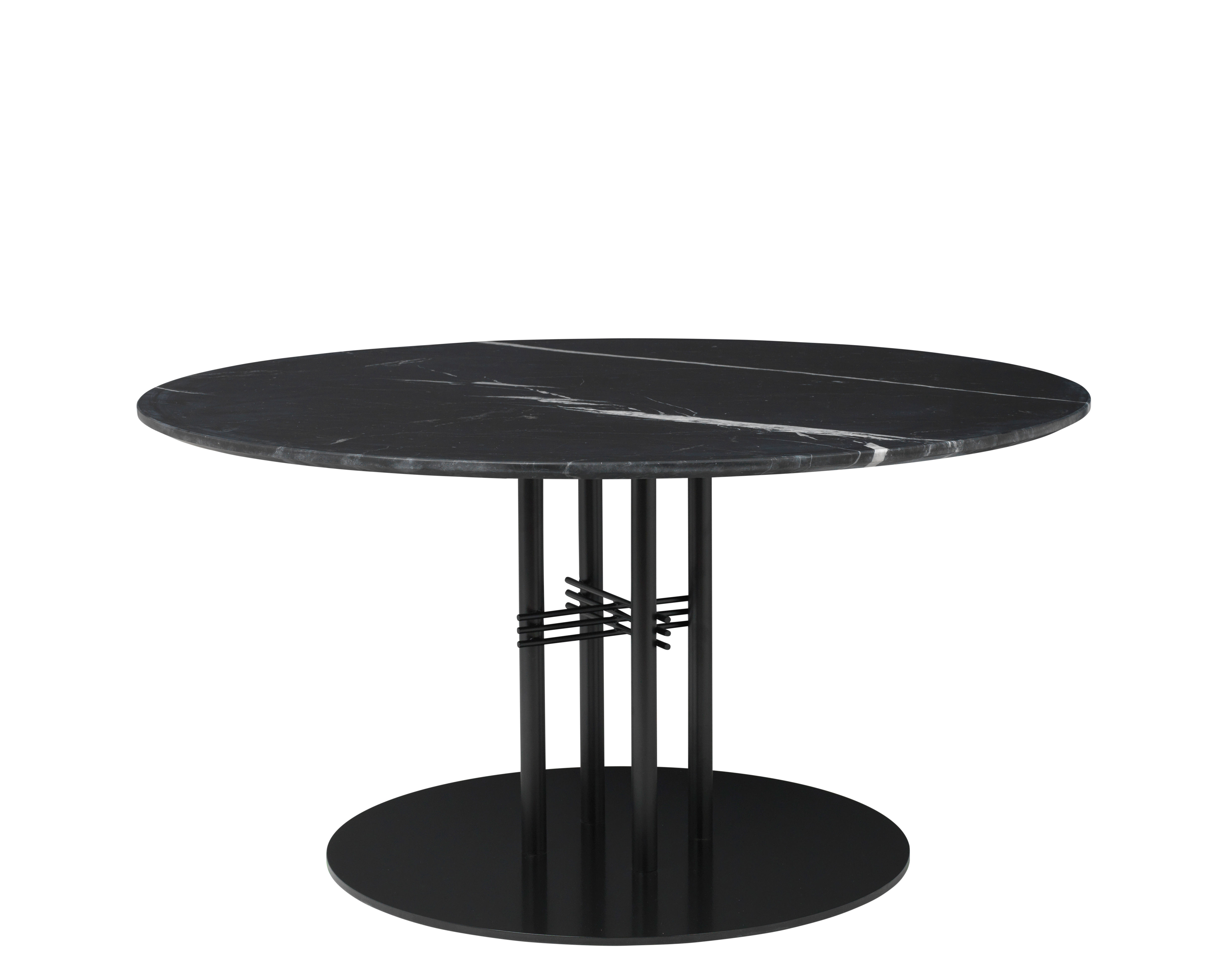 Furniture - Coffee Tables - TS Column Coffee table - /Gamfratesi - Ø 110 x H 60 cm by Gubi - Black Marble/Black legs - Lacquered metal, Marquina marble