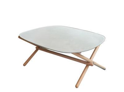 Möbel - Couchtische - Tesch Couchtisch / Klapptisch - 72 x 72 cm - Beton - Spécimen Editions - Beton grau / Holz - Beton, massive Buche