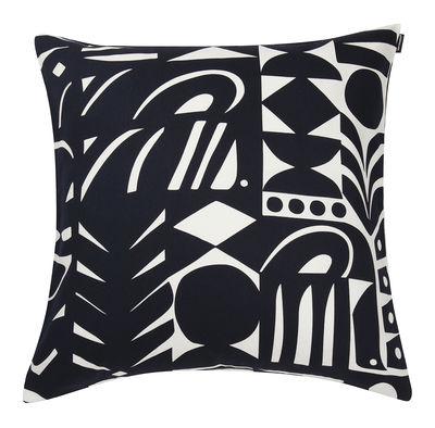 Decoration - Cushions & Poufs - Yön varjo Cushion - / 50 x 50cm by Marimekko - Yön varjo / White & Navy blue - Cotton