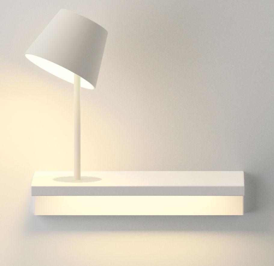 Mobilier - Etagères & bibliothèques - Etagère lumineuse Suite / L 32 cm /  Lampe de lecture - Branchement mural - Vibia - Lampe de lecture / Blanc - Métal laqué, Polycarbonate