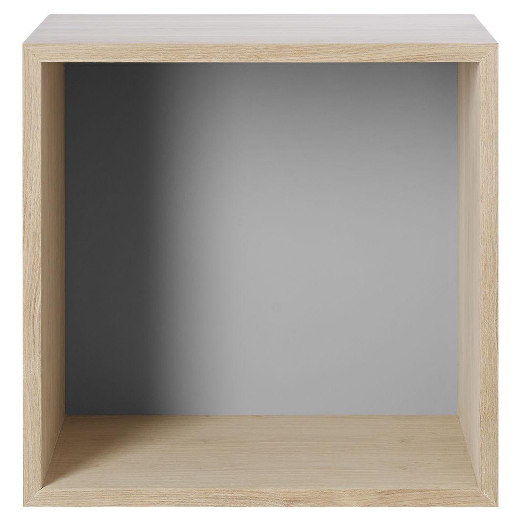 Mobilier - Etagères & bibliothèques - Etagère Stacked / Medium carré 43x43 cm / Avec fond coloré - Muuto - Frêne / Fond gris - MDF finition frêne