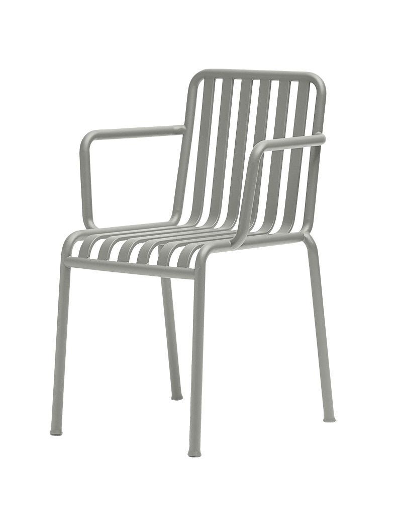 Mobilier - Chaises, fauteuils de salle à manger - Fauteuil empilable Palissade / R & E Bouroullec - Hay - Gris clair - Acier électro-galvanisé, Peinture époxy