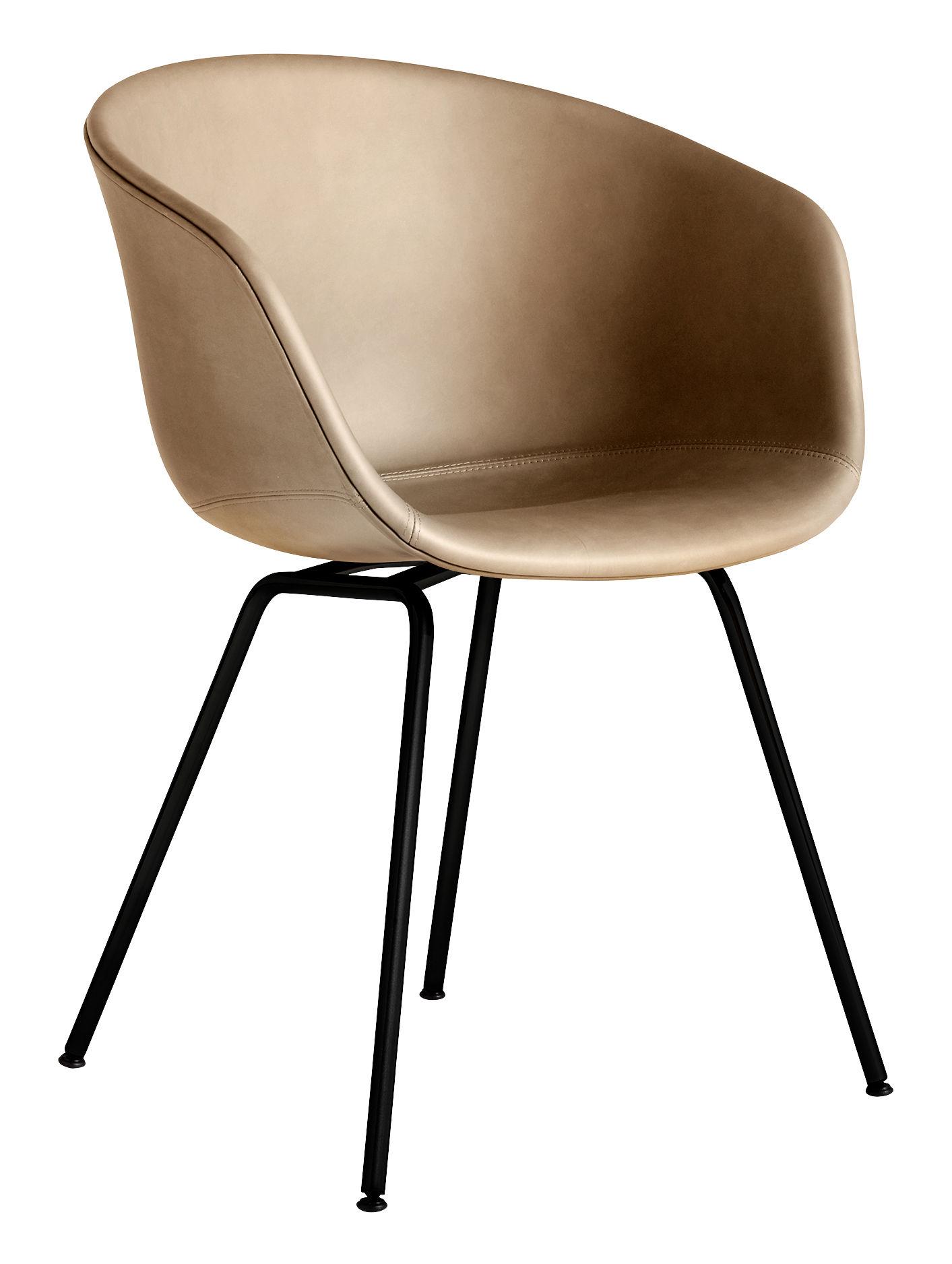 Möbel - Stühle  - About a chair AAC27 Gepolsterter Sessel / Ganz mit Leder & Metall - Hay - Nougat (Silk 0258) / Schwarz - Cuir Silk, Polypropylen, Schaumstoff, thermolackierter Stahl