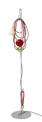 Luminaire - Lampadaires - Lampadaire Filo / H 152 cm - Foscarini - Emerald King - Métal verni, Porcelaine, Tissu, Verre de Murano