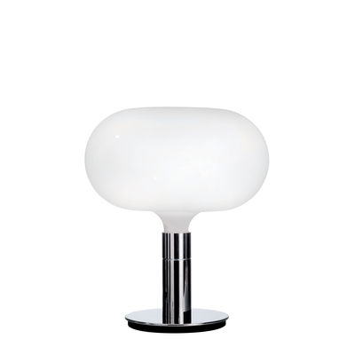 Luminaire - Lampes de table - Lampe de table AM1N / Ø 40 x H 48 cm - Réédition 1969 - Nemo - Blanc / Chromé - Métal chromé, Verre