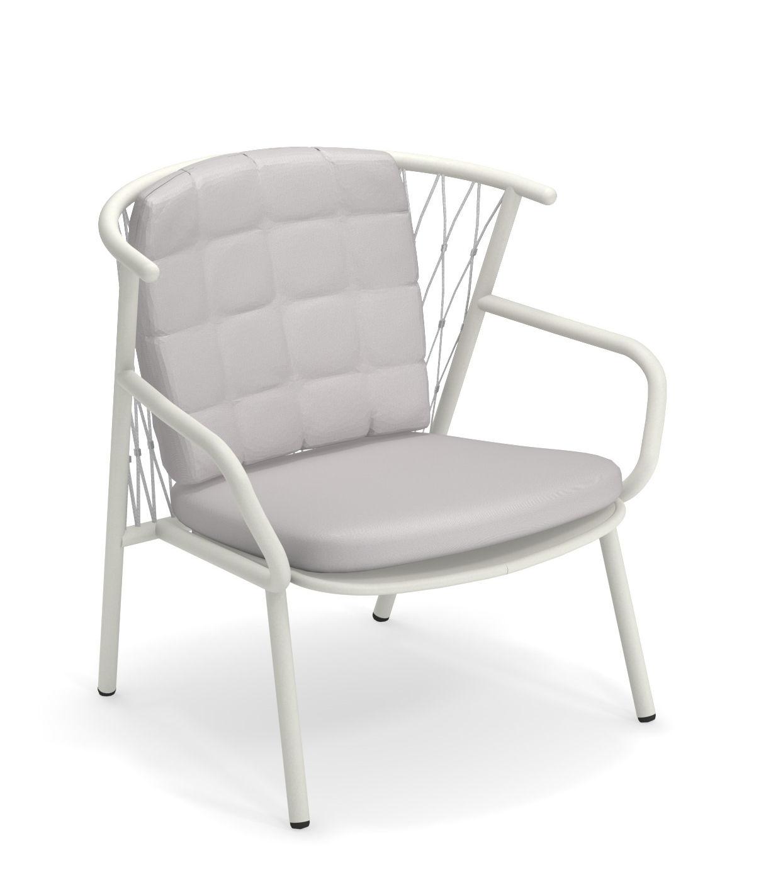 Möbel - Lounge Sessel - Nef Lounge Sessel / Rückenlehne H 83 cm - Emu - Weiß / Rückenlehne grau - klarlackbeschichtetes Aluminium, Kunststoffseile