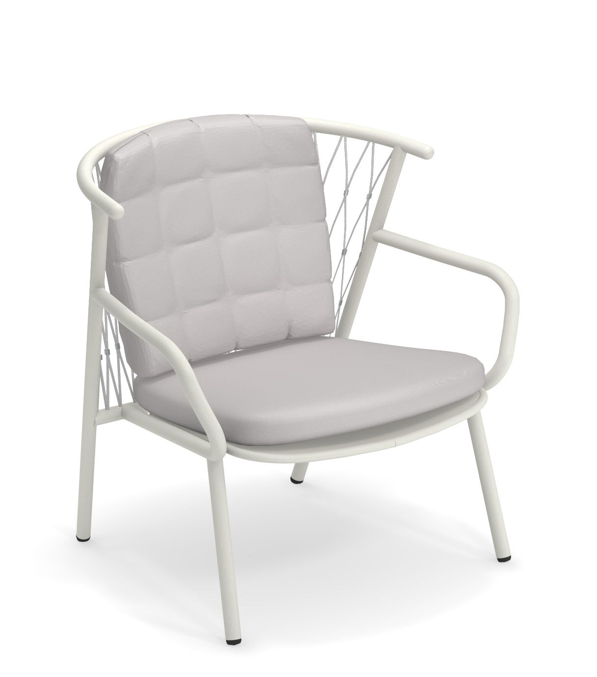 Furniture - Armchairs - Nef Low armchair - / Backrest H 83 cm by Emu - White / Grey backrest - Cordes synthétiques, Varnished aluminium