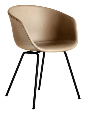 Furniture - Chairs - About a chair AAC27 Padded armchair - / Full leather & metal by Hay - Nougat (Silk 0258) / Black - Foam, Polypropylene, Powder coated steel, Silk leather