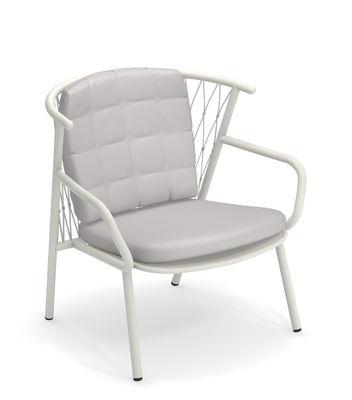 Arredamento - Poltrone design  - Poltrona bassa Nef - / Schienale H 83 cm di Emu - Bianco / schienale grigio - alluminio verniciato, Corde sintetiche