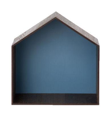 Furniture - Bookcases & Bookshelves - Studio Shelf - W 30 x H 30 cm by Ferm Living - Smoked oak / Blue background - Oak