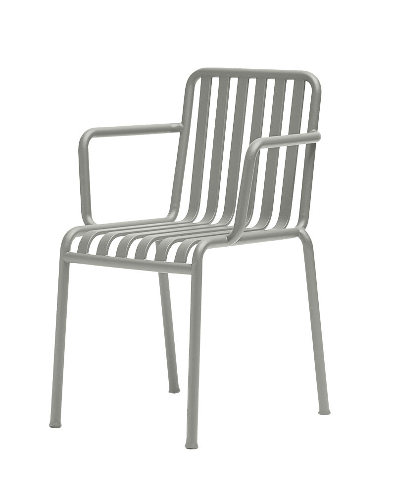 Furniture - Chairs - Palissade Stackable armchair - R & E Bouroullec by Hay - Light grey - Electro galvanized steel, Peinture époxy