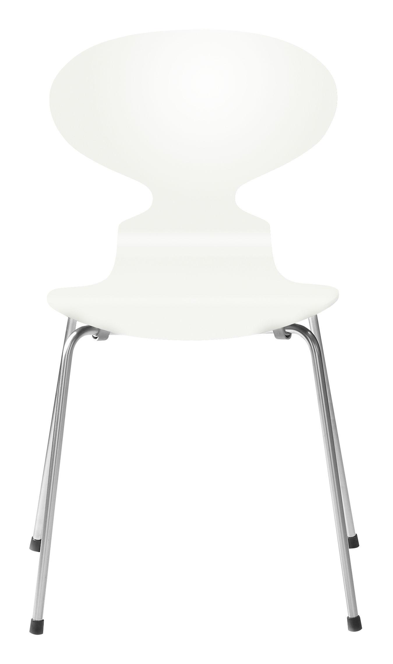 Möbel - Stühle  - Fourmi Stapelbarer Stuhl 4 Füße - Holz lackiert - Fritz Hansen - Weiß lackiert - Contreplaqué de bois laqué, Stahl