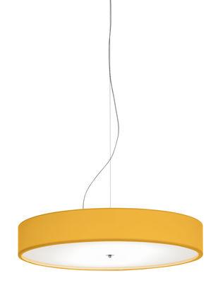 Luminaire - Suspensions - Suspension Discovolante LED / Ø 40 cm - Modoluce - Jaune / Tissu - Coton, Plexiglas