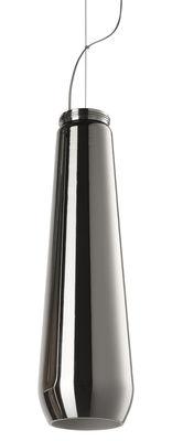 Luminaire - Suspensions - Suspension Glass Drop / Ø 13 x H 45 cm - Diesel with Foscarini - Chromé - Thermoplastique, Verre soufflé métallisé