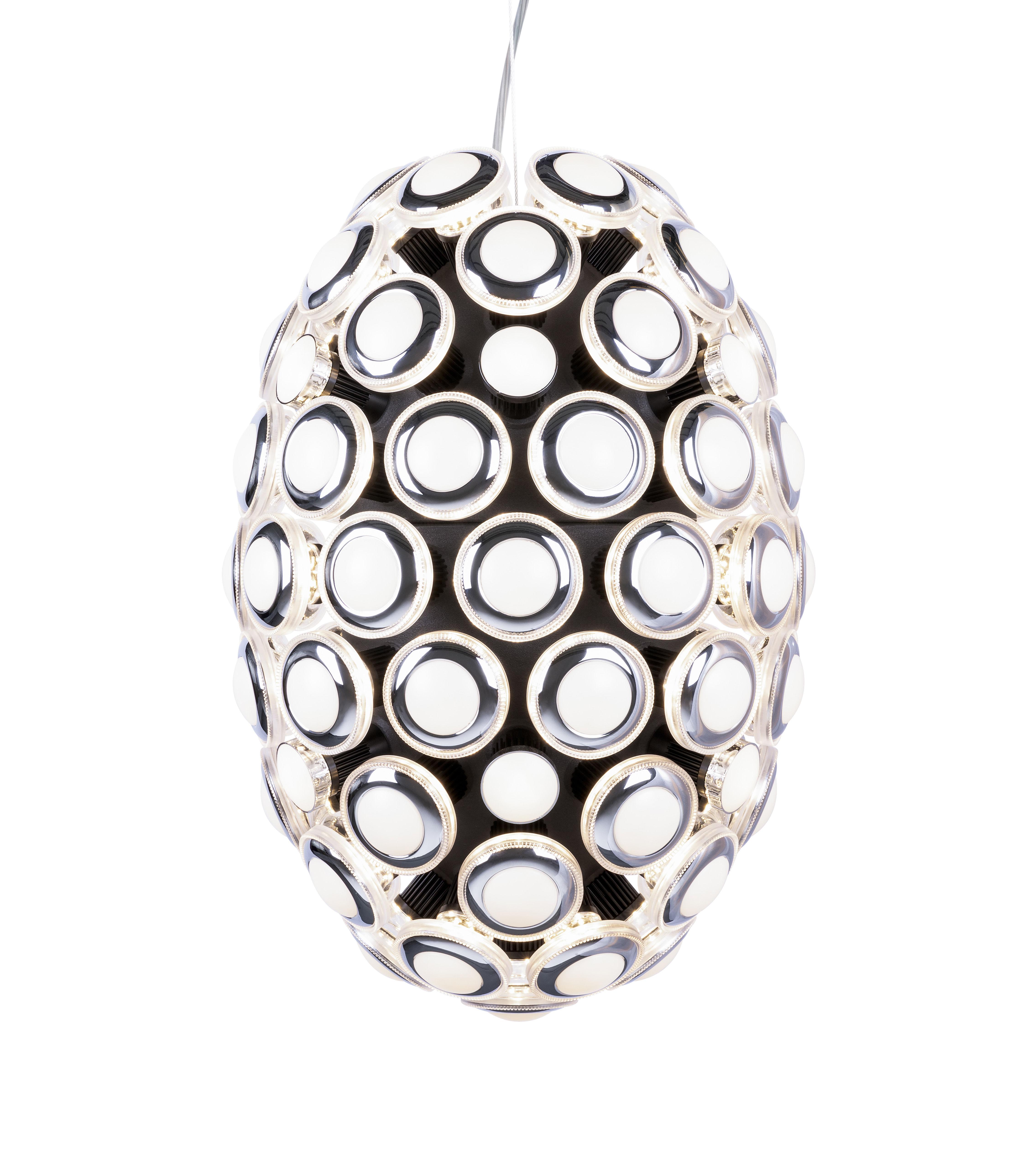 Luminaire - Suspensions - Suspension Iconic Eyes / LED - Ø 60 x H 88 cm - Moooi - Chromé & noir - ABS, Polycarbonate, Verre dépoli