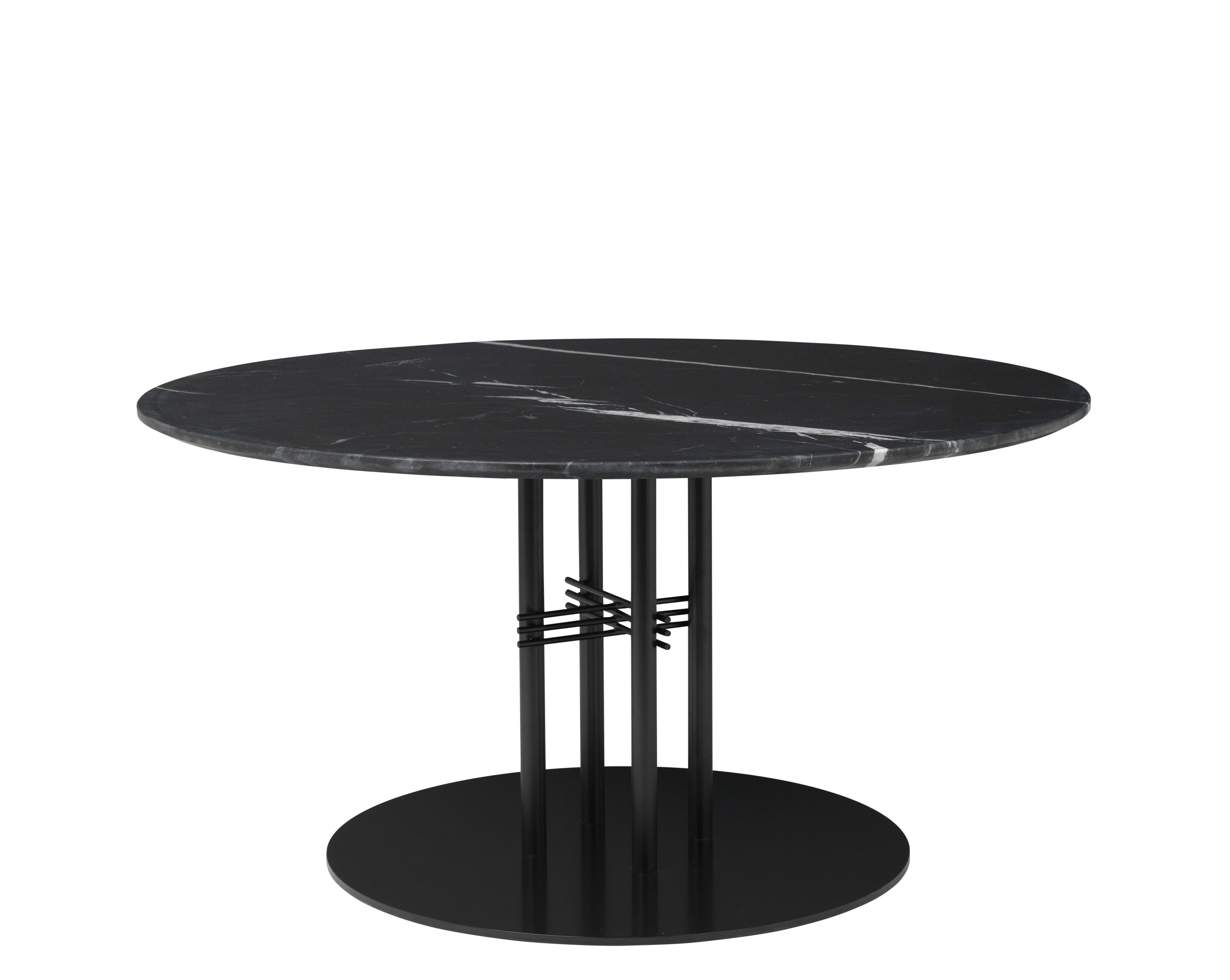Mobilier - Tables basses - Table basse TS Column / Gamfratesi - Ø 110 x H 60 cm - Gubi - Marbre noir / Pied noir - Marbre Marquina, Métal laqué