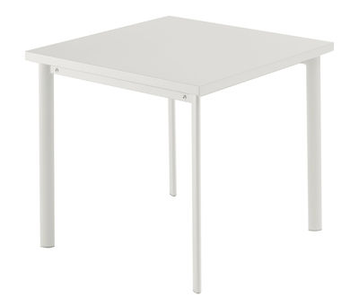 Jardin - Tables de jardin - Table carrée Star / 70 x 70 cm - Emu - Blanc mat - Acier verni, Inox, Tôle galvanisée