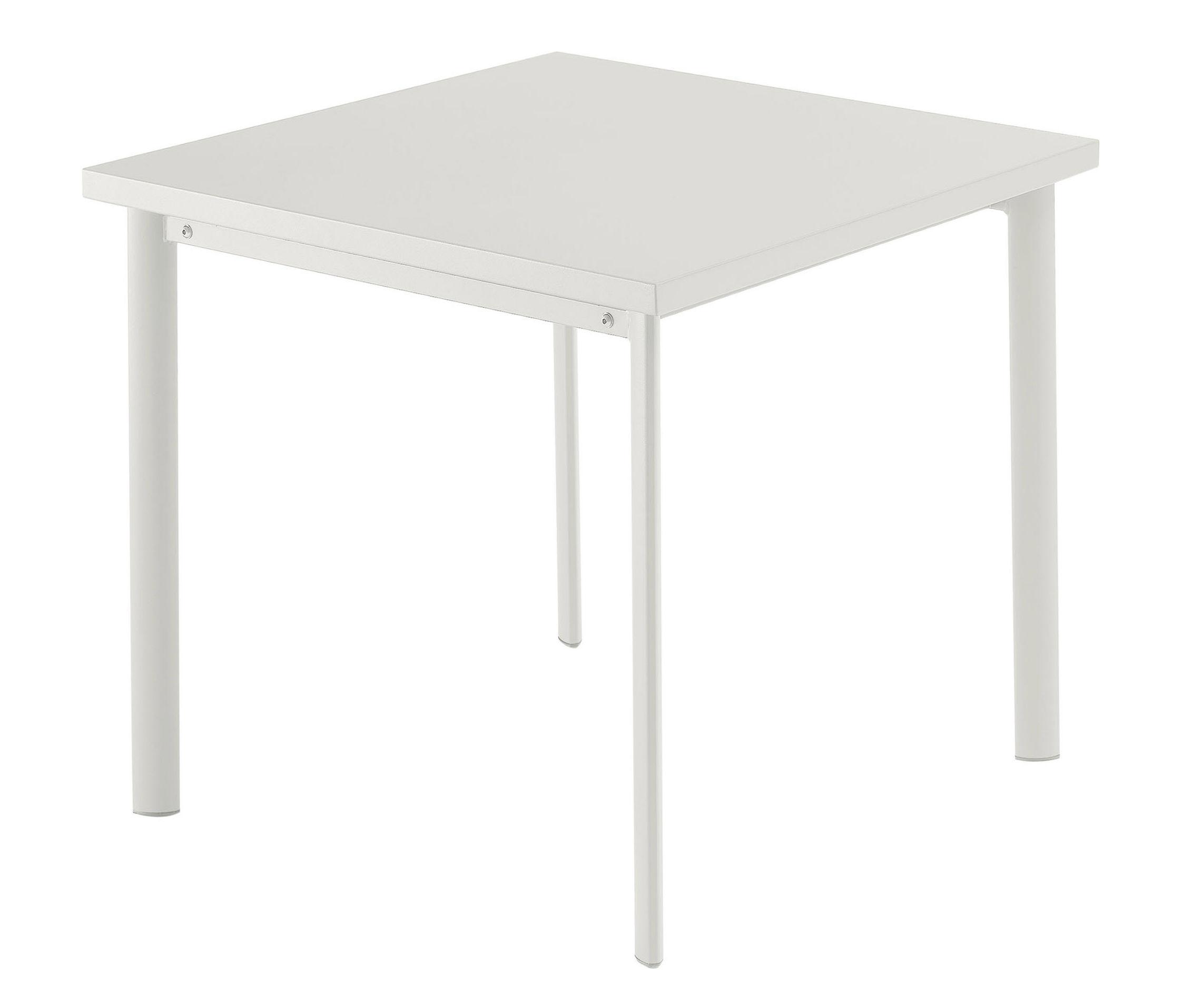 Jardin - Tables de jardin - Table Star / 70 x 70 cm - Emu - Blanc mat - Acier verni, Inox, Tôle galvanisée