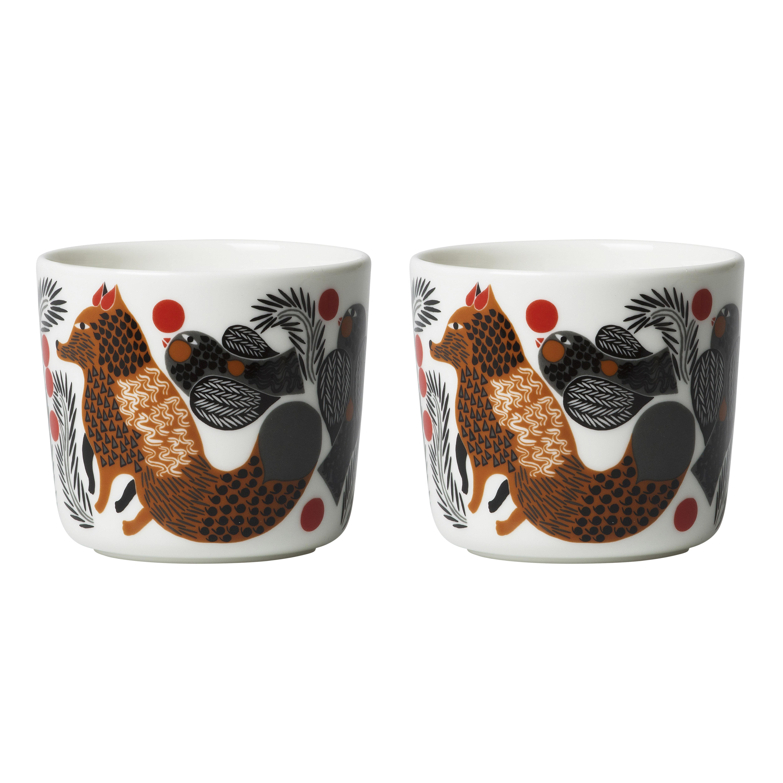 Arts de la table - Tasses et mugs - Tasse à café Ketunmarja / Sans anse - Set de 2 - Marimekko - Ketunmarja / Gris & marron - Grès