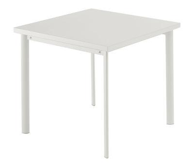 Outdoor - Tavoli  - Tavolo quadrato Star - / 70 x 70 cm di Emu - Bianco opaco - Acciaio verniciato, Inox, Lamiera galvanizzata