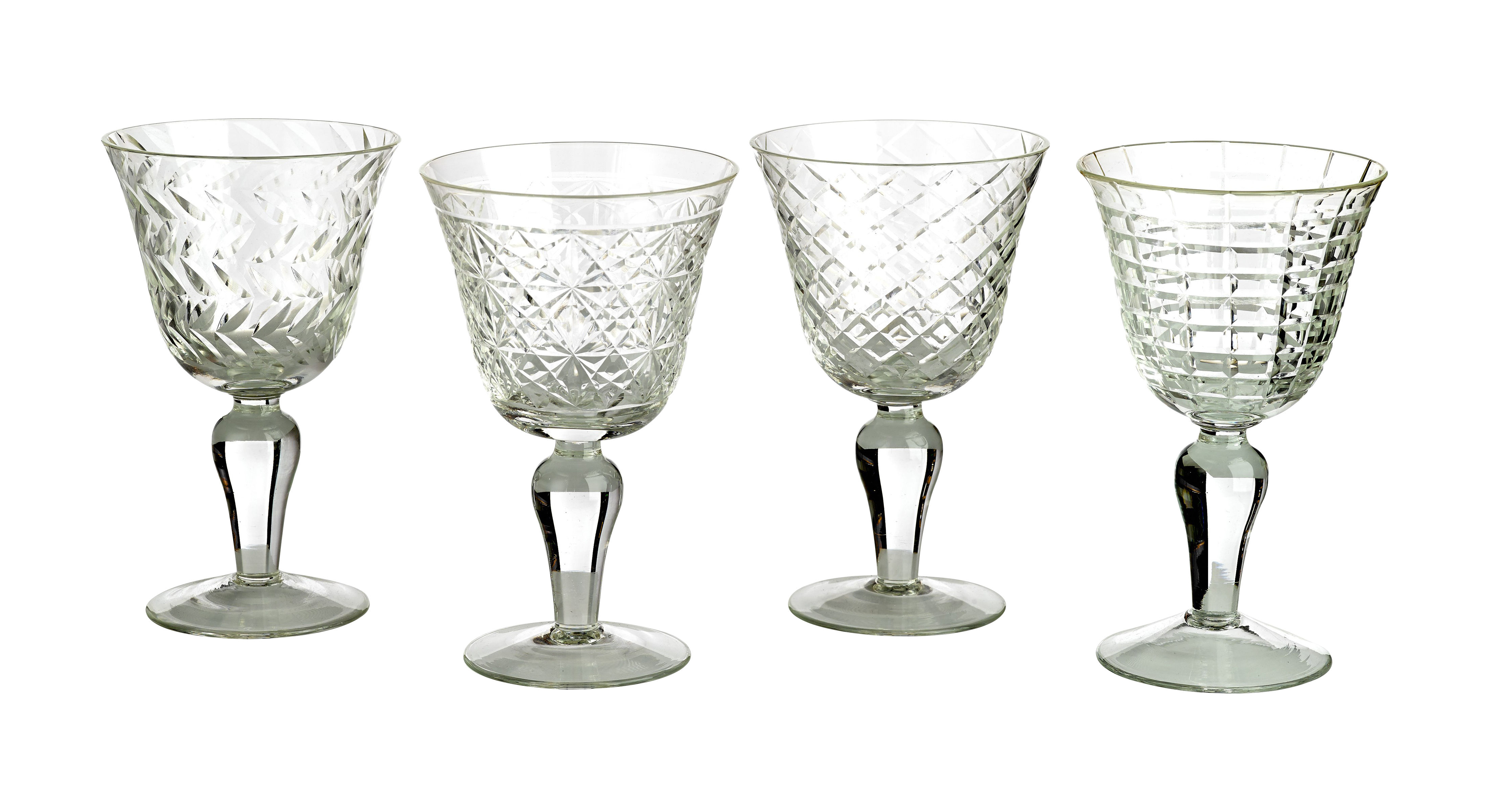 Tableware - Wine Glasses & Glassware - Cuttings Wine glass - Set of 4 by Pols Potten - Transparent - Engraved glass