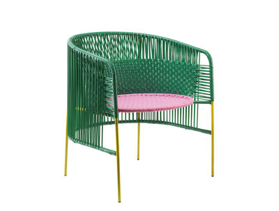Furniture - Chairs - Caribe Lounge Armchair by ames - Green & pink / Curry legs - Recycled plastic threads, Thermolacquered galvanised steel