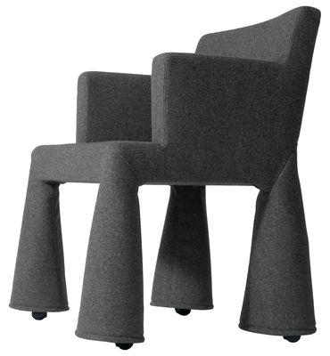 Furniture - Teen furniture - V.I.P. Chair Armchair on casters by Moooi - Drark grey - Foam, Steel, Wool