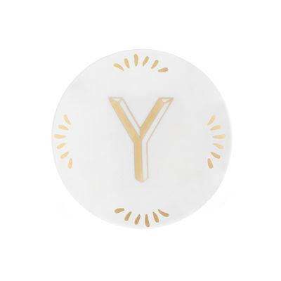 Arts de la table - Assiettes - Assiette à mignardises Lettering / Ø 12 cm - Lettre Y - Bitossi Home - Lettre Y / Or - Porcelaine