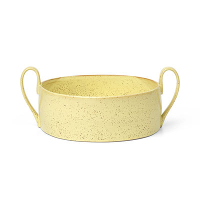 Tableware - Bowls - Flow Bowl - / Ø 25 cm - China by Ferm Living - Mottled pale yellow - Enamelled china