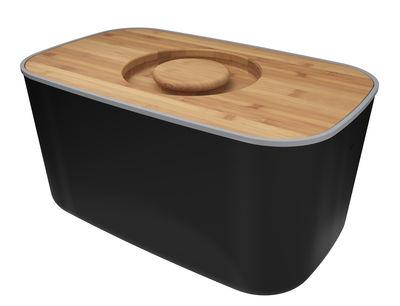 Küche - Küchenutensilien - Brotkasten Stahl / mit Schneidebrett als Deckel - Joseph Joseph - Schwarz / Bambus - Bambus, rostfreier Stahl