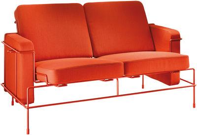 Mobilier - Canapés - Canapé droit Traffic / L 134 cm - 2 places - Magis - Tissu orange / Structure rouge métallisé - Fil d'acier verni, Mousse de polyuréthane, Tissu Kvadrat