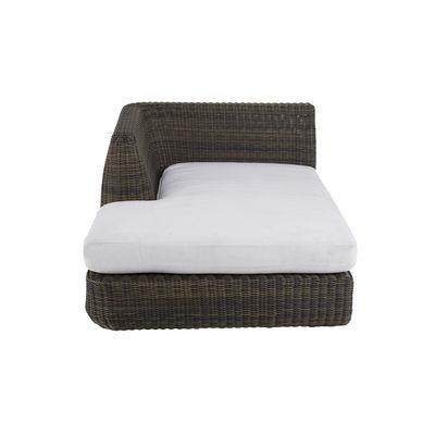 Canapé modulable Agorà / Module Lounge Droite - Assise profonde / L 100 cm - Unopiu blanc écru,marron tropical en matière plastique