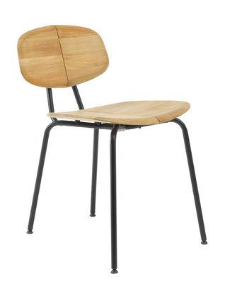 Mobilier - Chaises, fauteuils de salle à manger - Chaise Agave / Teck - Ethimo - Teck & noir - Métal laqué, Teck naturel