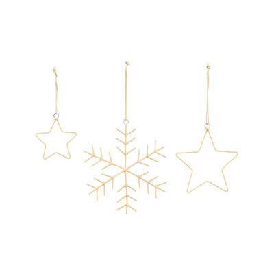 Decoration - Home Accessories - Christmas decoration - / Set of 3 by House Doctor - Gold - Fabric, Iron