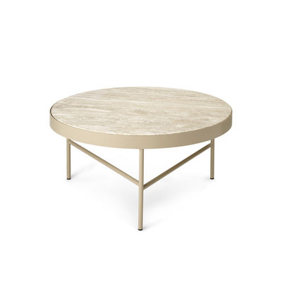 Furniture - Coffee Tables - Travertine Coffee table - / Large - Ø 70.5 x H 35 cm by Ferm Living - Beige Travertine stone / Cashmere beige base - Powder coated steel, Travertine