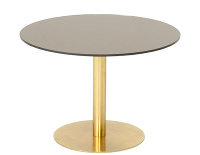 Möbel - Couchtische - Flash Couchtisch / Ø 60 cm - Tom Dixon - Bronze / gold - Messing, Verre avec film cuivré