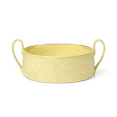 Arts de la table - Saladiers, coupes et bols - Coupe Flow / Ø 25 cm - Porcelaine - Ferm Living - Jaune pâle moucheté - Porcelaine émaillée