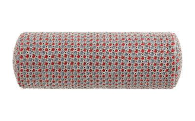 Image of Cuscino Garden Layers - / Cilindrico small - Tessuto a mano di Gan - Blu/Rosso - Tessuto