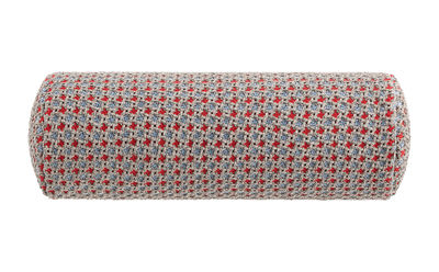 Decoration - Cushions & Poufs - Garden Layers Cushion - / Small roll - Handwoven by Gan - Embossed / Blue & red - Foam rubber, Polypropylene