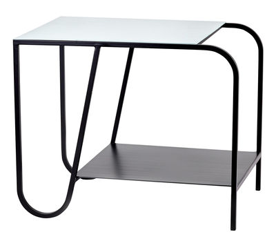 Furniture - Coffee Tables - Jean End table - L 45 x H 37 cm by Serax - Black / Vintage blue tray - Lacquered steel