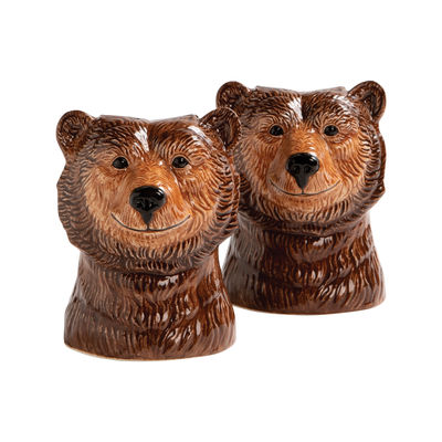 Egg Cups - Salt & Pepper Mills - Grizzly bear Salt & pepper shaker set - / Hand painted porcelain by & klevering - Brown / Grizzly - China