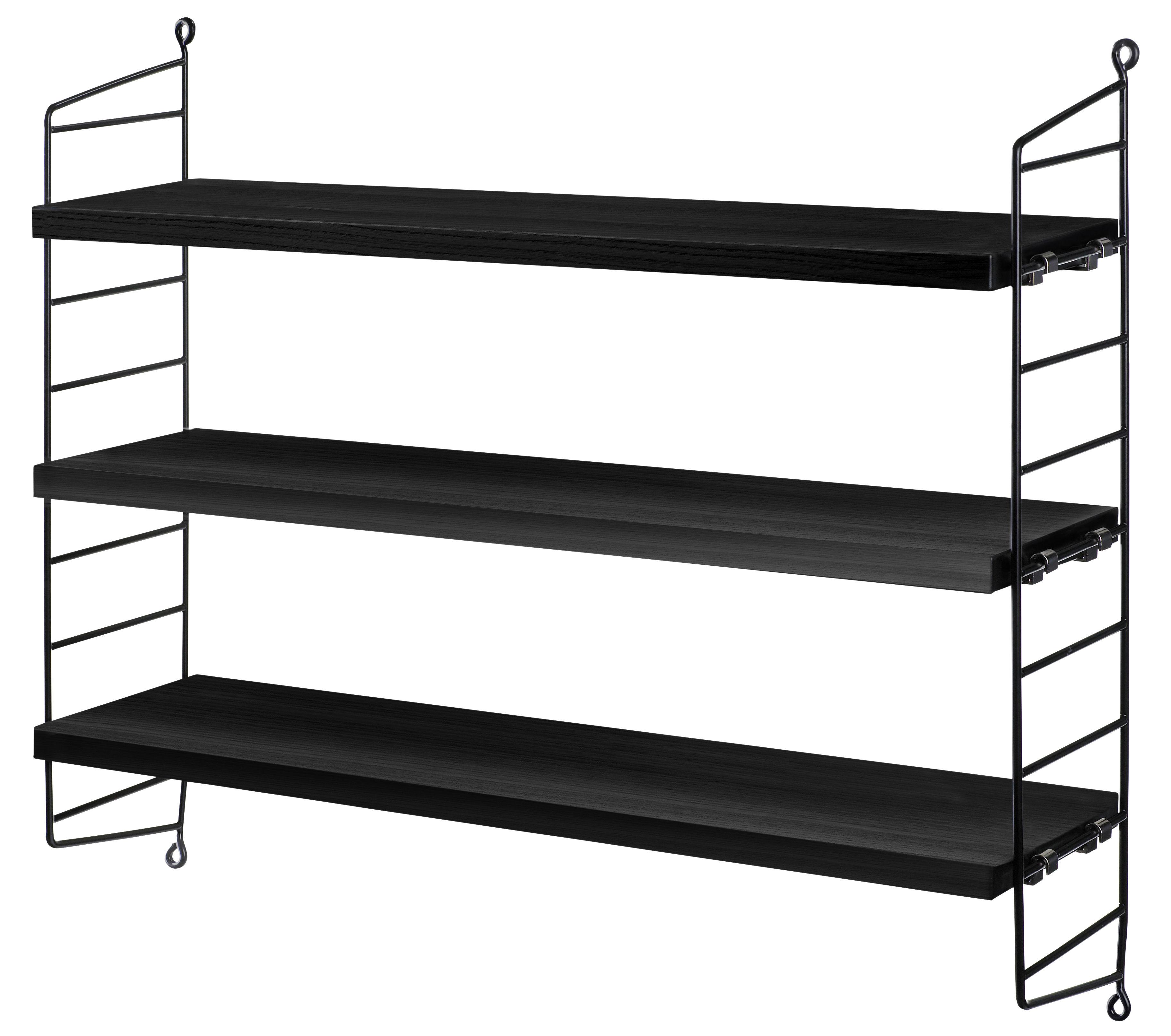 Mobilier - Etagères & bibliothèques - Etagère String Pocket / Bois - L 60 x H 50 cm - String Furniture - Frêne teinté noir/ Montants noirs - Acier, Frêne teinté