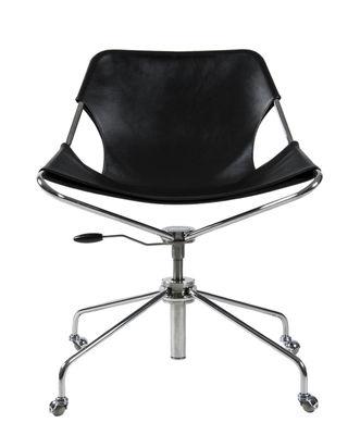Fauteuil à roulettes Paulistano / Assise souple en cuir - Hauteur réglable - Objekto acier,marron clair en cuir