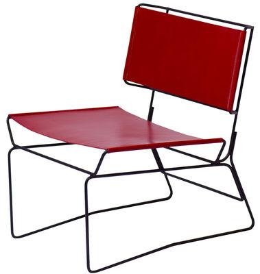 Mobilier - Fauteuils - Fauteuil bas Fil / Cuir naturel - AA-New Design - Cuir rouge / Structure noire - Acier laqué époxy, Cuir
