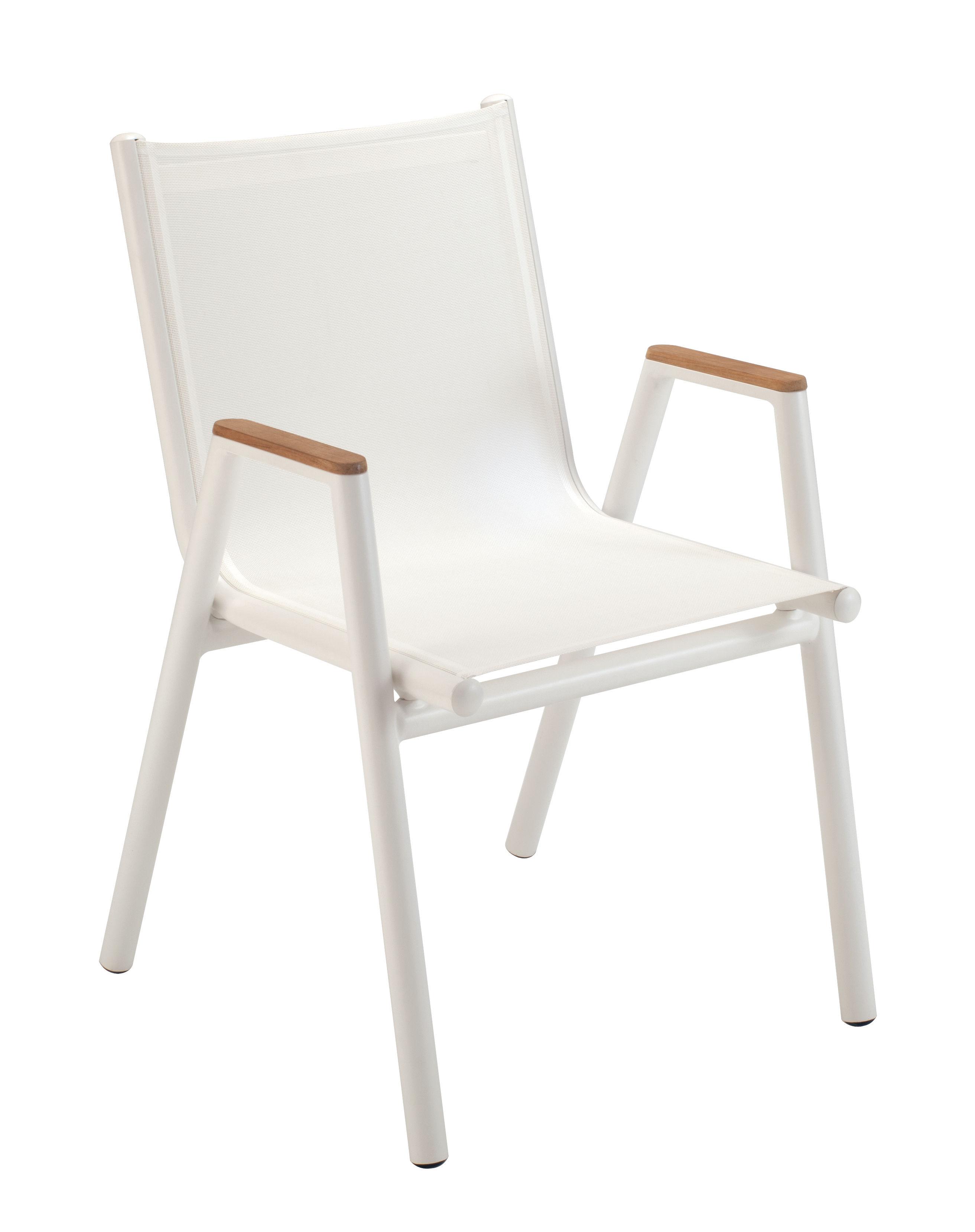 Mobilier - Chaises, fauteuils de salle à manger - Fauteuil empilable Pilotis / Toile - Vlaemynck - Blanc / Accoudoirs teck - Aluminium laqué, Teck huilé, Toile Batyline
