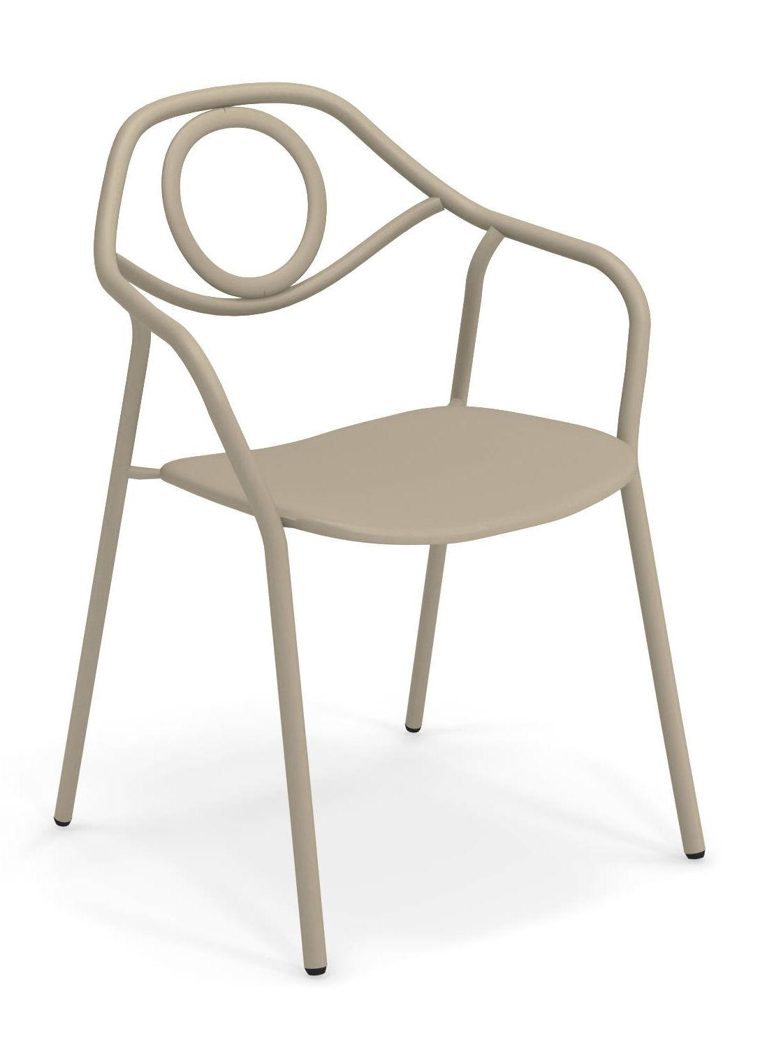 Mobilier - Chaises, fauteuils de salle à manger - Fauteuil empilable Zahir / Métal - Emu - Taupe - Acier verni