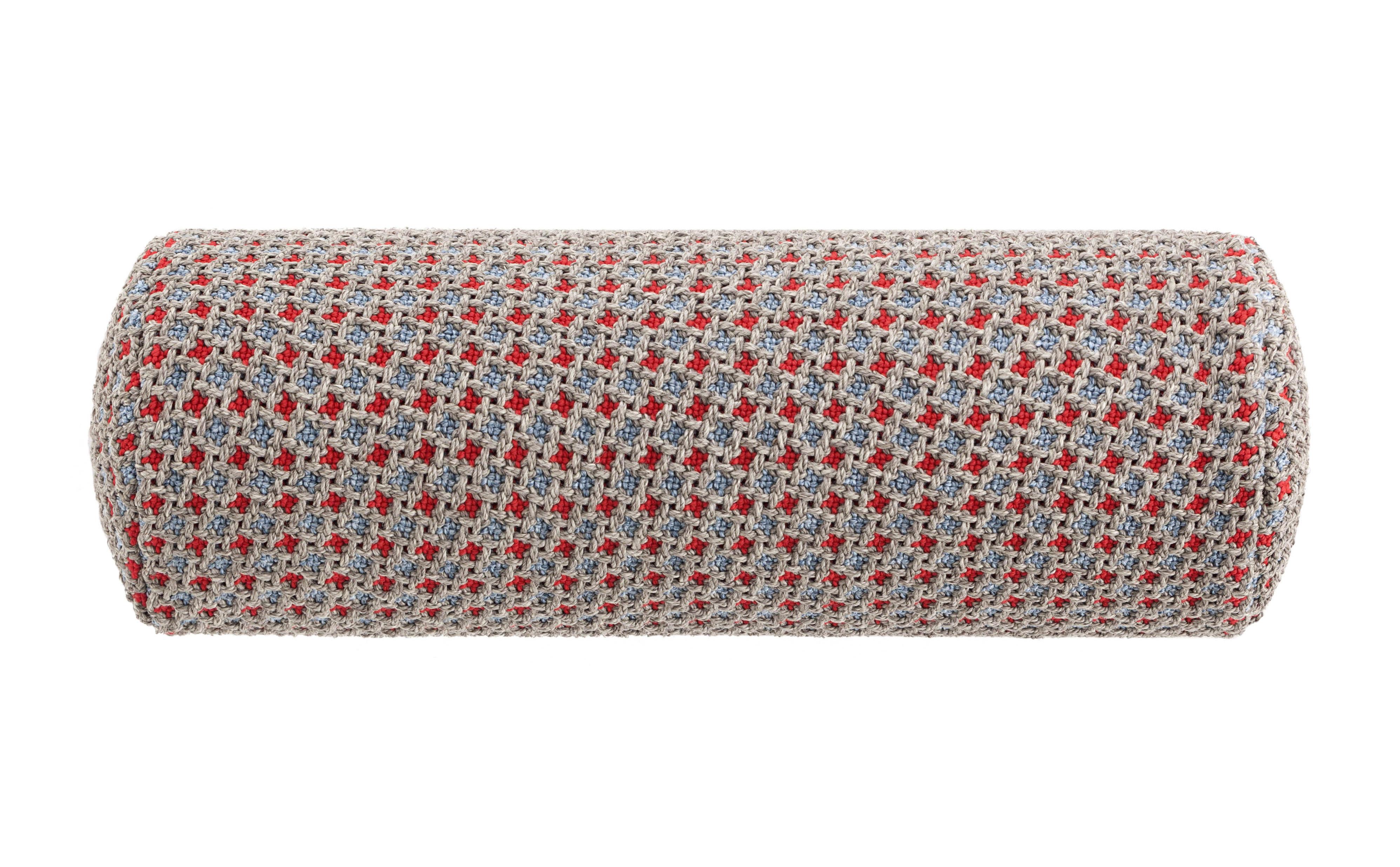 Dekoration - Kissen - Garden Layers Kissen / Nackenrolle klein - handgewebt - Gan - Gaufriert / blau & rot - Polypropylen, Schaumgummi