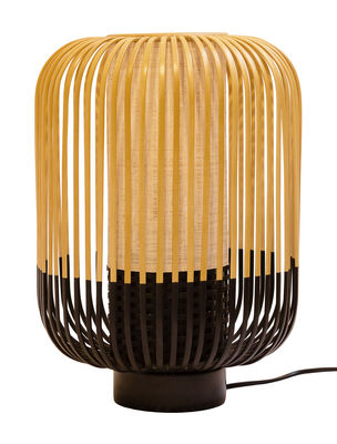 Lampe de table Bamboo Light / H 39 x Ø 27 cm - Forestier noir,bambou naturel en bois